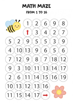 Math maze with cute cartoon bee and flower.