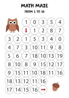 Math maze with cute cartoon owl and acorn.