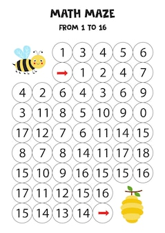 Math maze with cute kawaii bee and beehive