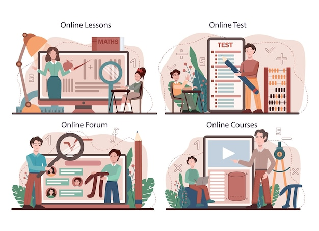 Math school subject online service or platform set. students studying mathematics, geometry, mathematical analysis and algebra. online lesson, test, forum, course. flat vector illustration