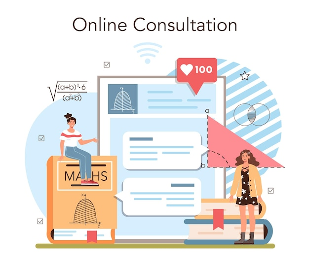 Math school subject online service or platform. students studying mathematics and algebra. science and engineering education. online consultation. flat vector illustration