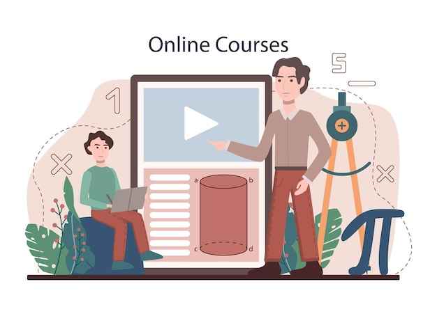 Math school subject online service or platform. students studying