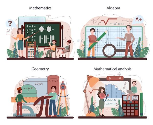 수학 학교 과목 집합입니다. 과학, 기술, 공학 교육. 평면 벡터 일러스트 레이 션