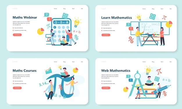 Math school subject web banner or landing page set. learning mathematics, idea of education and knowledge. science, technology, engineering, mathematics education.