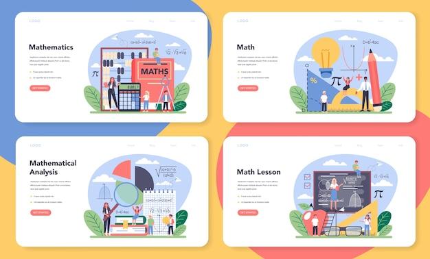 Math school subject web banner or landing page set