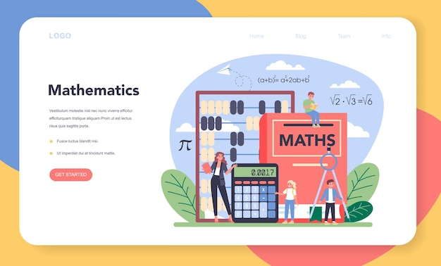 Math school subject web banner or landing page.
