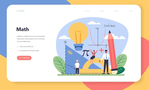 Math school subject web banner or landing page