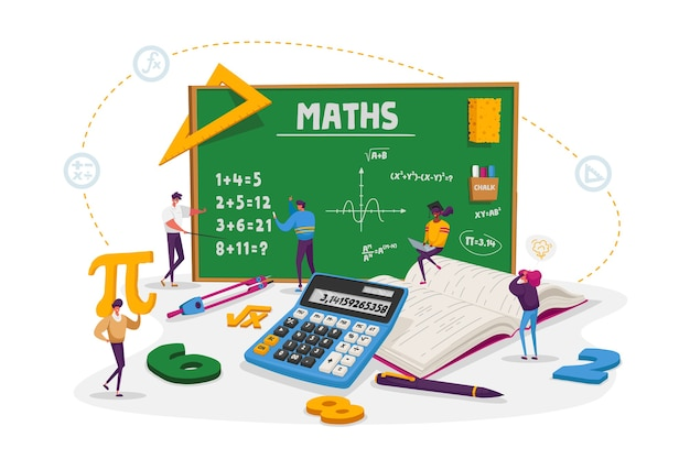 Math science concept. tiny male and female students characters in lab or school class learning mathematics at huge blackboard. people gaining education and writing formula. cartoon