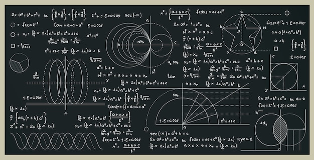 Math and science formulas with numbers on the blackboard