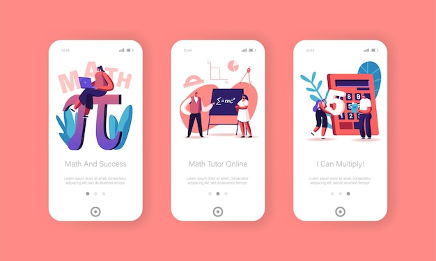 Math science mobile app page screen template.