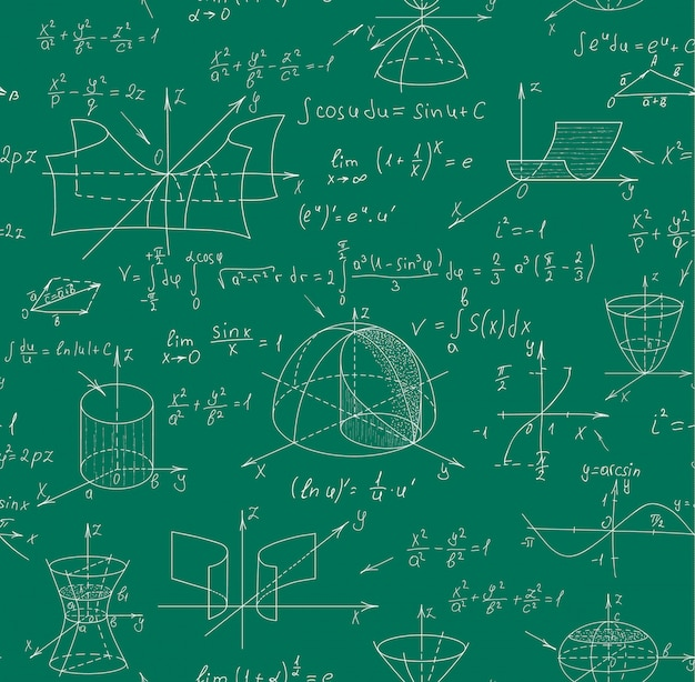Math science vector seamless pattern with handwritten formulas on a green chalkboard for the background.