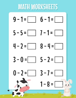 유치원 수학 빼기 워크시트