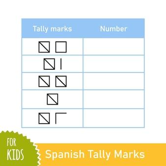 스페인어 집계 표시가 있는 수학 작업. 미취학 아동 및 학교 어린이를 위한 계산 게임. 교육 수학 게임. 벡터 일러스트 레이 션 흰색 배경에 고립입니다.