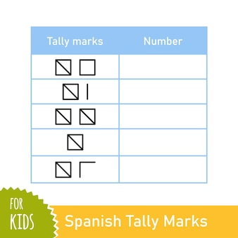 Math task with spanish tally marks. counting game for preschool and school children. educational mathematical game. vector illustration isolated on white background.