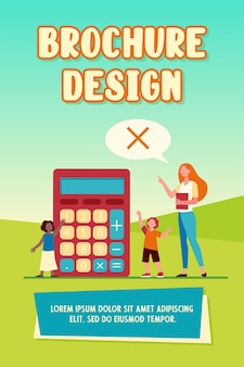 Math teacher forbidding to use calculator. teaching, prohibition sign in speech bubble, kids. flat vector illustration