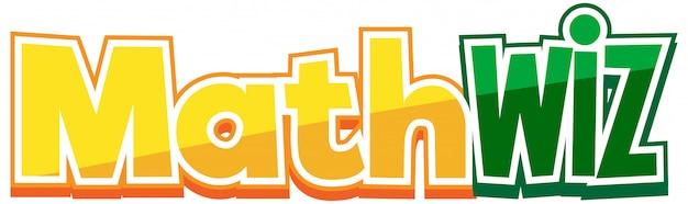 Дизайн шрифта для math wiz на белом фоне