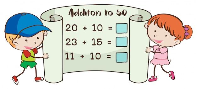 50に加算するための数学ワークシート