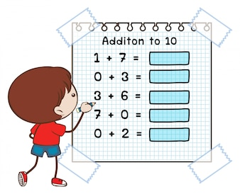 Math worksheet for addition to ten