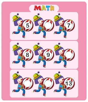 Math worksheet template with clowns and balls