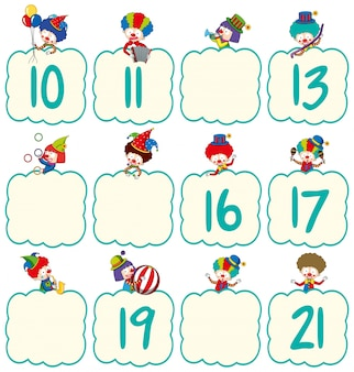 Шаблон таблицы math с клоунами и номерами