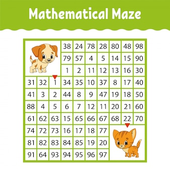 Mathematical colored square maze. education developing worksheet.