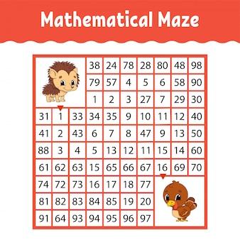 Математический цветной квадратный лабиринт. рабочий лист развития образования.