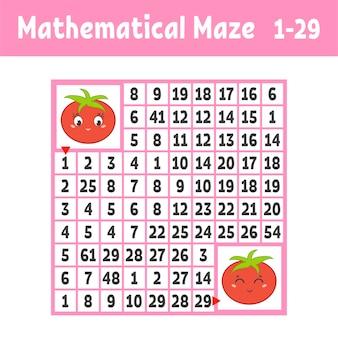 Математический цветной квадратный лист лабиринта для детей