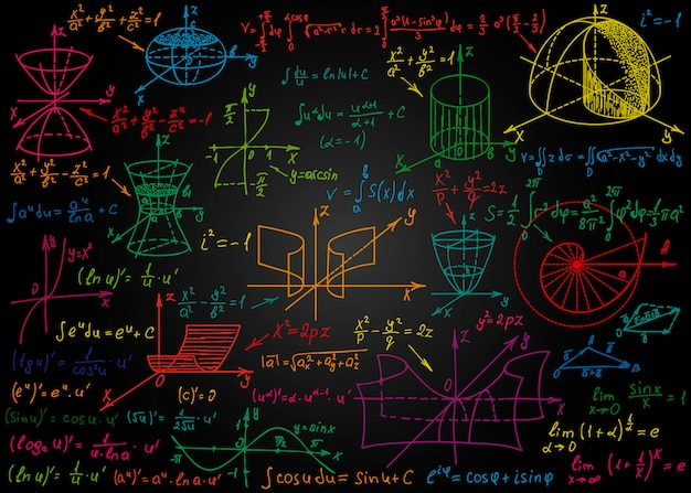 Mathematical colorful formulas drawn by hand on black chalkboard