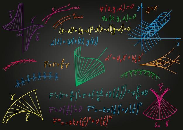 背景ベクトルの黒い汚れた黒板に手で描かれた数学的なカラフルな数式...