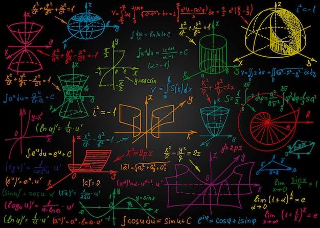 黒い黒板に手で描かれた数学的なカラフルな数式