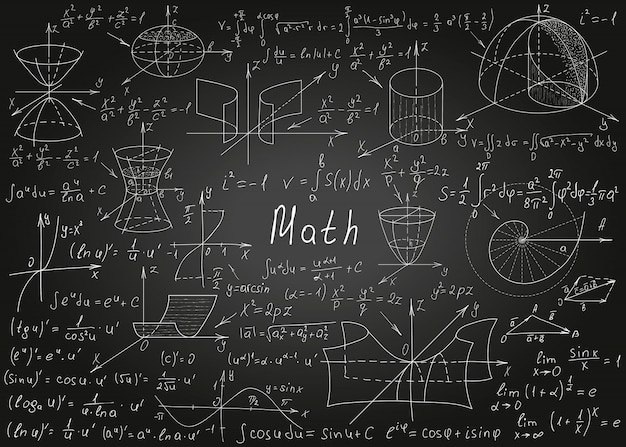 Mathematical formulas drawn by hand on a black chalkboard for the background