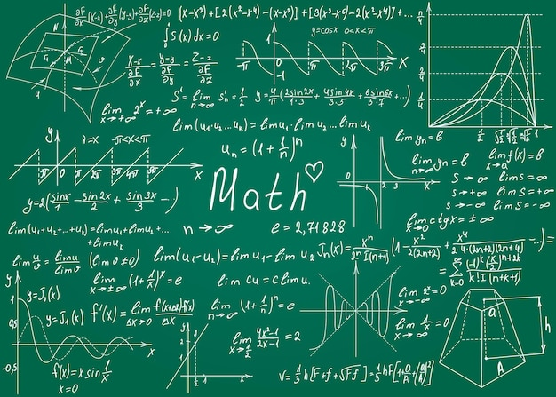 Mathematical formulas drawn by hand on the green chalkboard for the background vector illustration