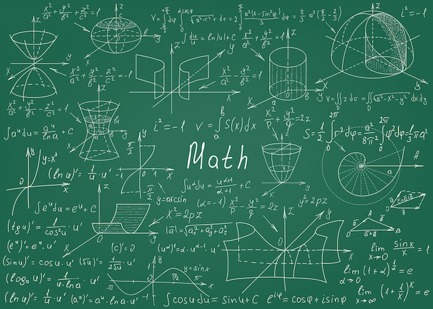 Mathematical formulas drawn by hand on a green chalkboard for the background