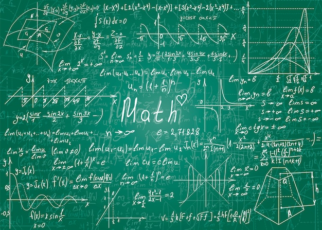 Математические формулы нарисованы от руки.