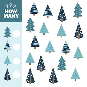 어린이를 위한 수학 게임. 얼마나 많은 블루 크리스마스 트리입니다. 벡터 일러스트 레이 션