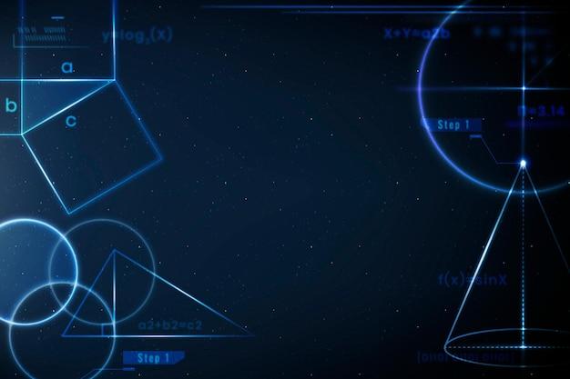 Vettore di sfondo matematico e geometrico in remix di istruzione blu sfumato