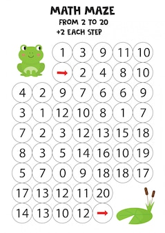 Mathematical maze for children. green frog and waterlily.