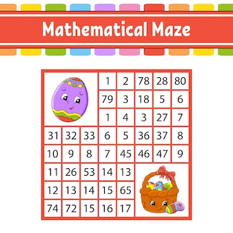 Математический лабиринт игра для детей. числовой лабиринт. рабочий лист развития образования.