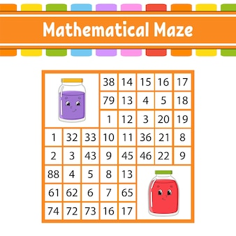 수학적 미로. 아이들을위한 게임.
