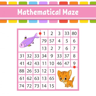Mathematical maze. game for kids. number labyrinth. education developing worksheet. activity page.