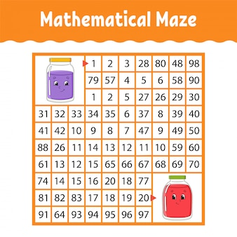 Mathematical maze, game for kids