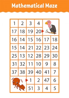 Математический прямоугольник лабиринт. муравей и гриф. игра для детей. числовой лабиринт. учебный лист.