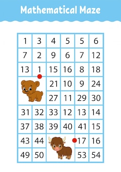 Mathematical rectangle maze. bear and yak. game for kids. number labyrinth. education worksheet.