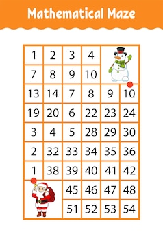 Mathematical rectangle maze. game for kids. number labyrinth.
