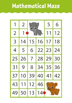 Mathematical rectangle maze. wolf and bear. game for kids. number labyrinth. education worksheet.