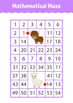 Mathematical rectangle maze. yak and alpaca. game for kids. number labyrinth. education worksheet.