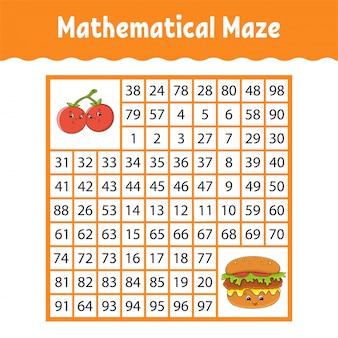 Математический квадратный лабиринт. игра для детей. числовой лабиринт. учебный лист.