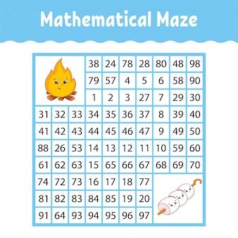 Математический квадратный лабиринт. игра для детей. числовой лабиринт.