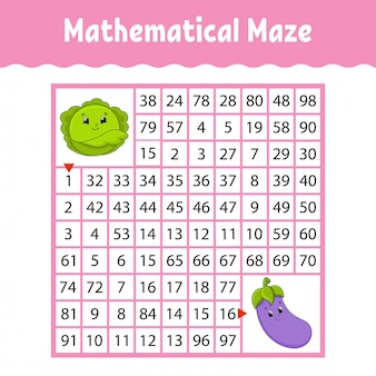 Mathematical square maze worksheet with cartoon vegetables