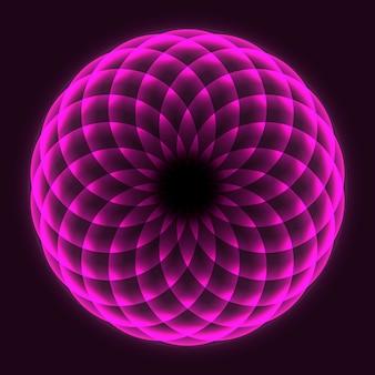 数学記号です。マンダラのデザイン。フラワー・オブ・ライフ。神聖幾何学。回転する円のパターン。バランスと調和。 Premiumベクター